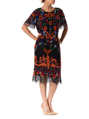 1980S  Silk Tribal Inspired With Beaded Fringe Cocktail Dress