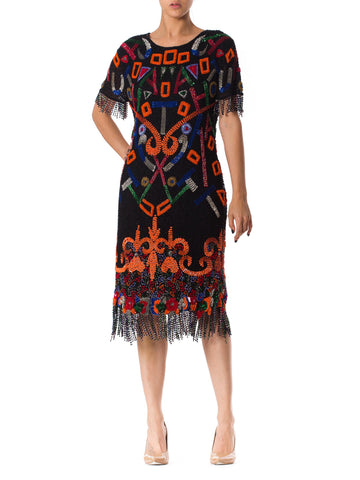 Tribal Inspired 1980s Cocktail Dress with Beaded Fringe