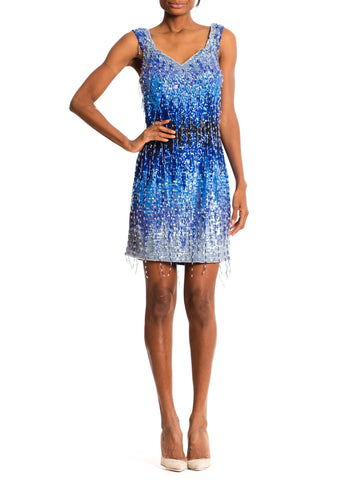 1990'S Cobalt Blue Poly/Lycra Jersey Ombré Sequin Beaded Fringe Cocktail Dress