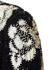 1980s Black and White Beaded Cocktail Dress.