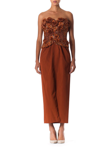 1980S Copper Silk Ottoman Strapless Couture Gown With 3D Embroidered Raffia & Pearl Beaded Flowers