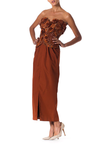 1980s Strapless Copper Gown with 3D Embroidered Flowers