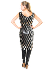 Vintage Jomer Imports Ltd Disco Chic Black And Silver Sequined Sheath