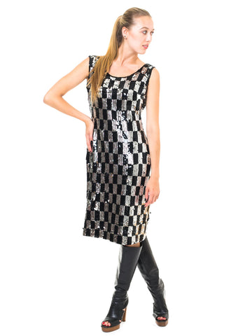 1960S Black & Silver Wool Knit Mod Op-Art Cocktail Dress