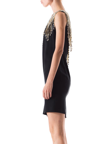 1980S BOB MACKIE Style Black Silk Crepe One Shoulder Cocktail Dress With Gold & Silver Beaded Fringe