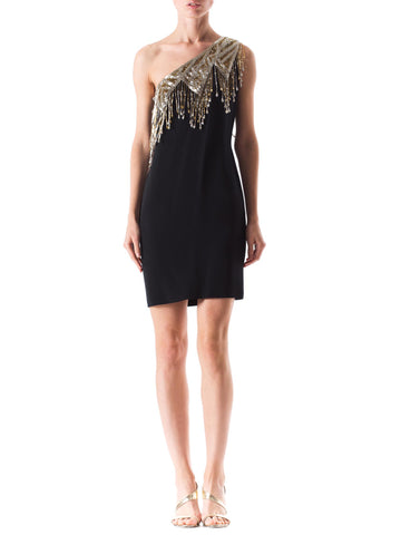 One Shoulder 1970s Beaded Fringe Dress