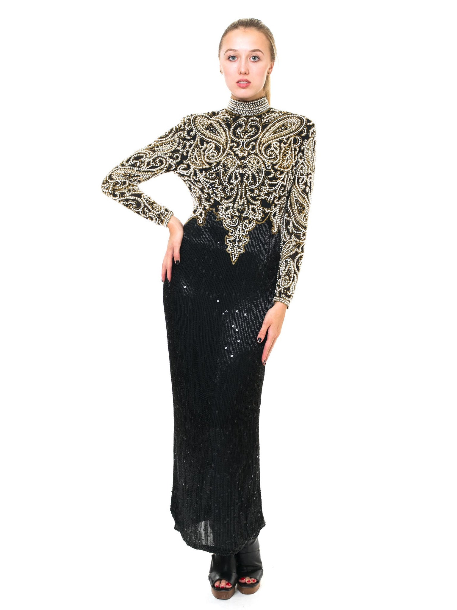 1980S NAEEM KHAN Black & Gold Beaded Silk Cut Out Back Long Sleeve Gown