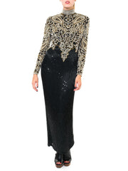 Naeem Khan Elegant Sequined And Beaded Black And White Gown
