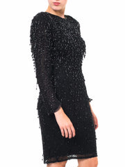 Black Dangling Beaded Dress
