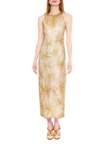 1970S HALSTON Gold Beaded Silk Famous Fireworks Fire Cracker Gown