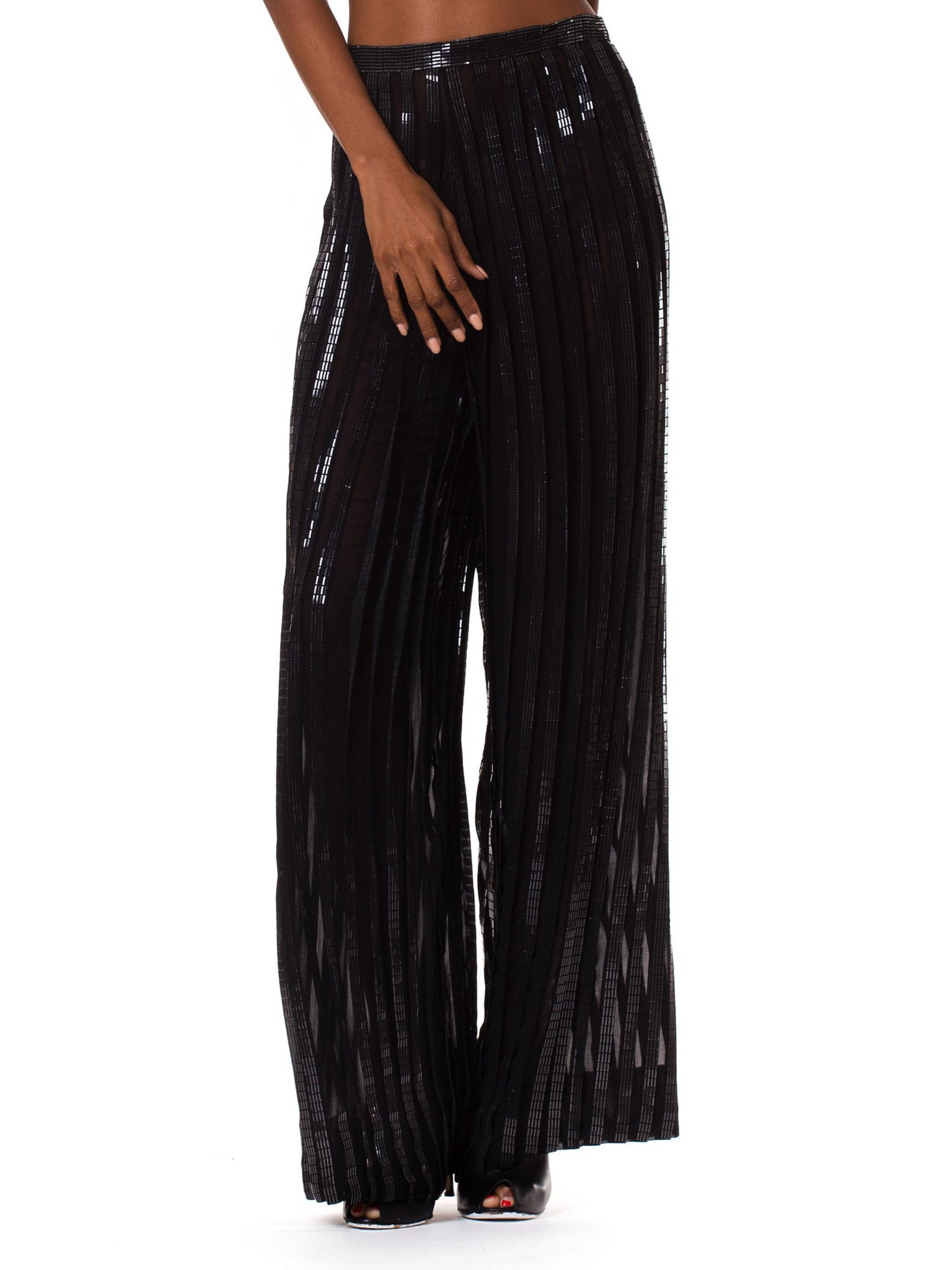1990s Interestingly Pleated Silk Chiffon Pants