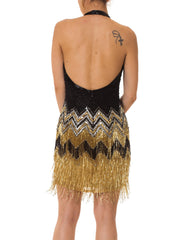 1980s Beaded Flapper Fringe Halter Disco Dress