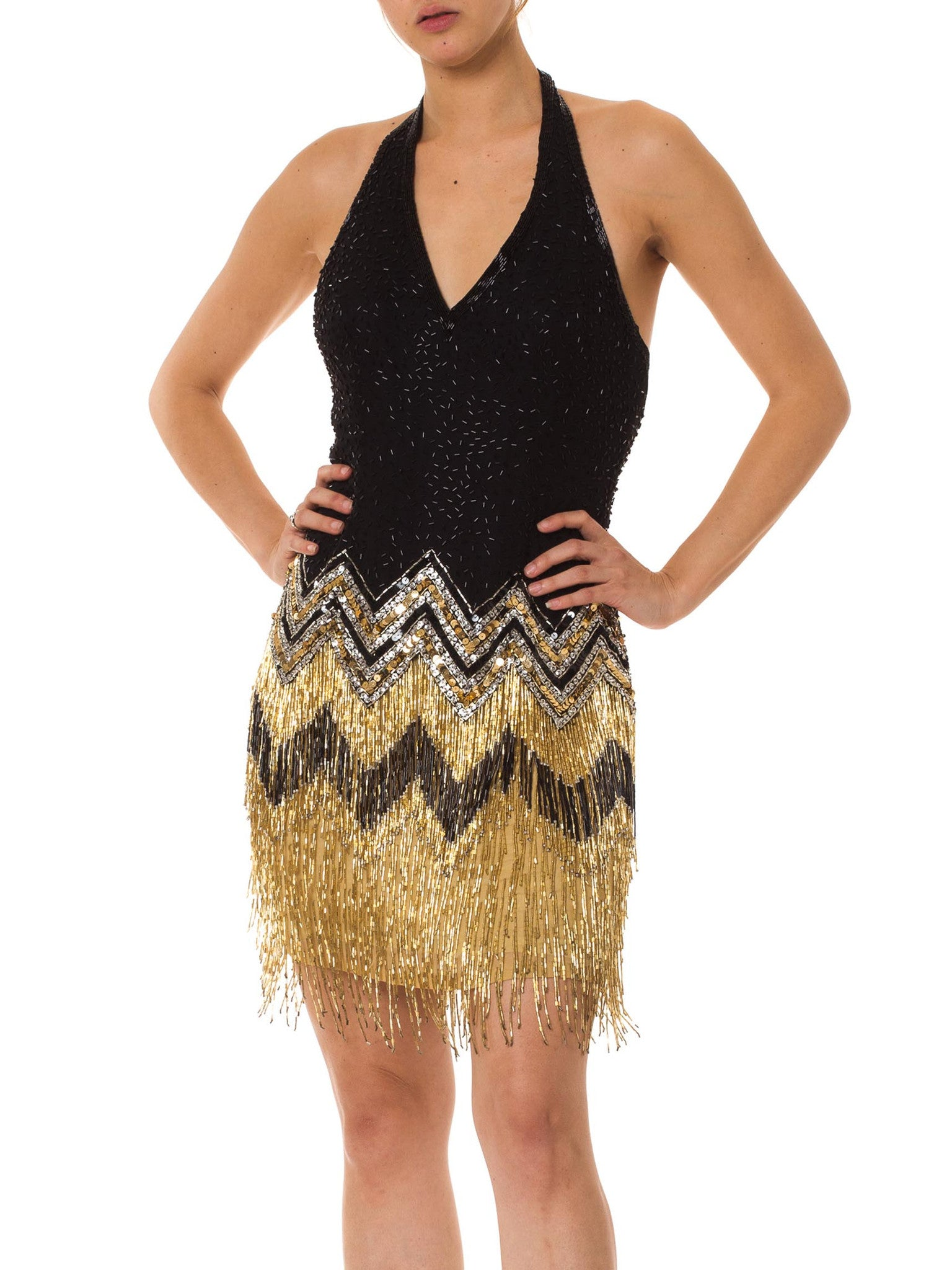 1980S  Black & Gold Silk Chiffon Beaded Flapper Backless Halter Cocktail Dress With Fringe