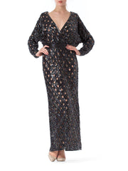 1970s Bob Mackie Beaded Sequin Paillette Gown