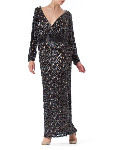 1970S BOB MACKIE Black Beaded Silk Geometric Cut Out Low & Backless Gown