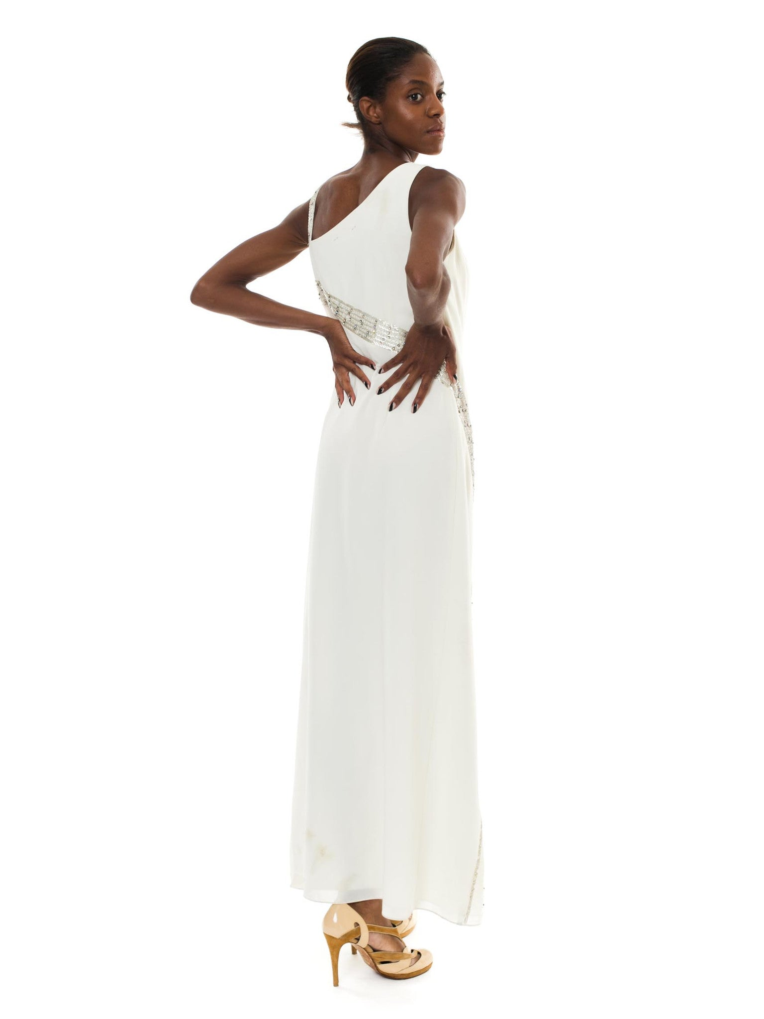 Asymmetrical White Sheer Flared Long Dress