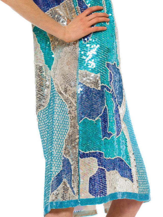 1980S Aquamarine Beaded Silk Cracked Glacier Ice Cocktail Dress