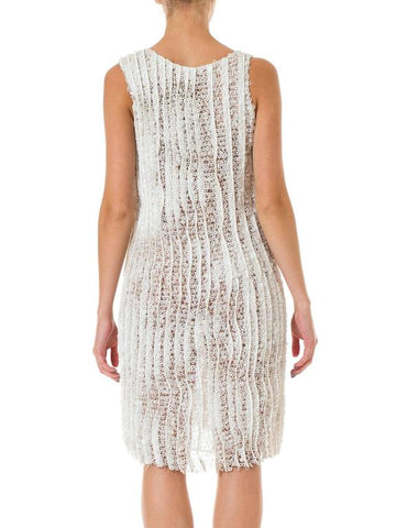 1990S HELMUT LANG Off White Silk Organza Dress Overlaid With Zipper & Pailette Lace
