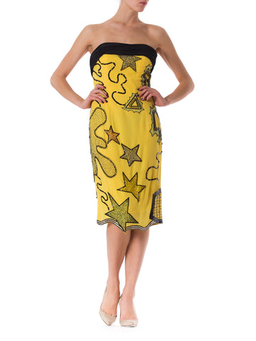 1980S FABRICE FOR BERGDORF GOODMAN Yellow & Black Polyester Chiffon Strapless Beaded Party Dress
