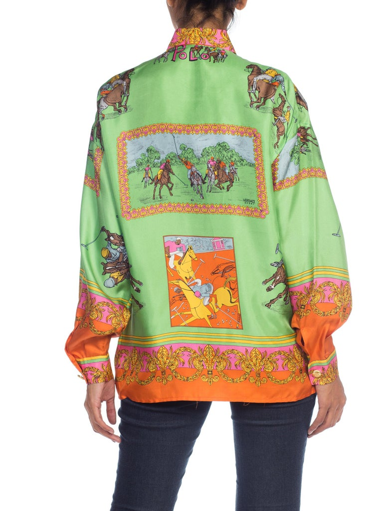 1990S  Versace Sport By GIANNI Lime Green & Pink Silk Equestrian Polo Print Shirt