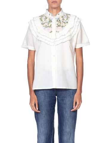Floral Embroidered Victorian Style Ruffled Blouse