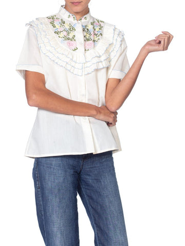 1970S Floral Embroidered Victorian Style Ruffled Blouse  Top