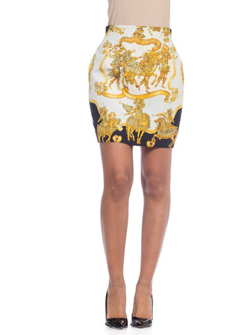 1990s Gianni Versace Atelier Baroque Printed Silk Skirt