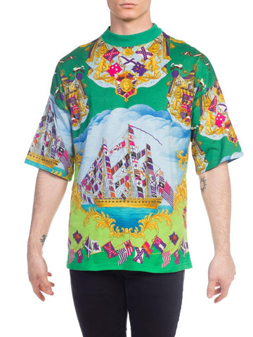 1990s Gianni Versace Miami Collection Printed T-Shirt