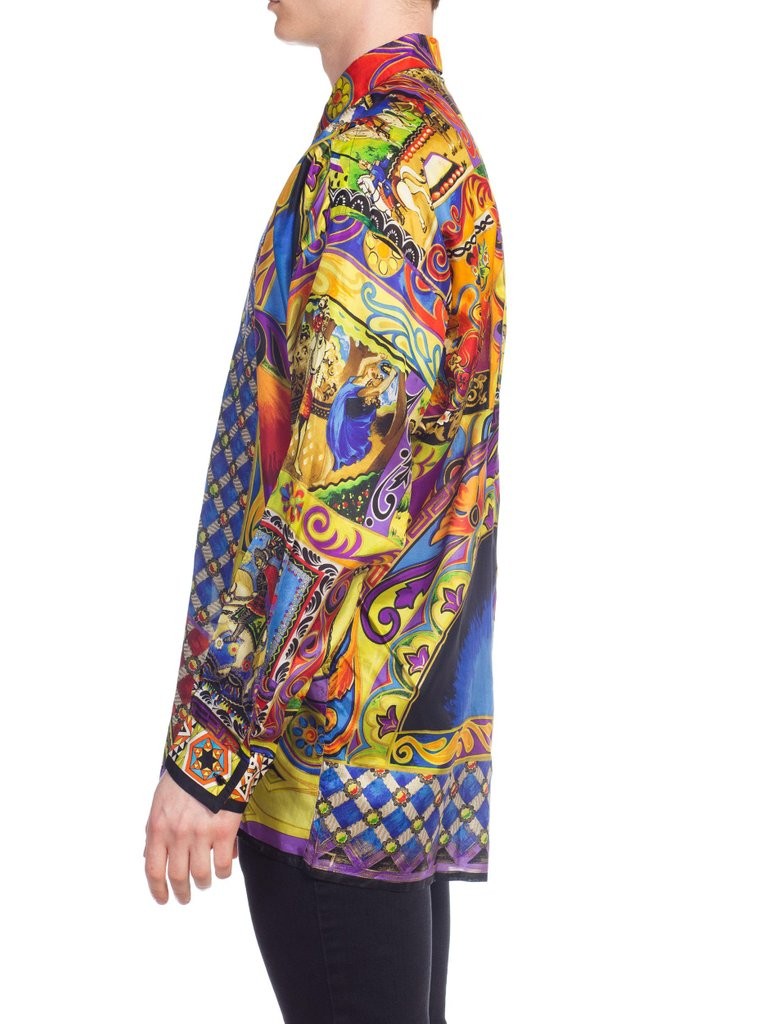 1990S GIANNI VERSACE Silk Men's Medieval Print Shirt With Metallic Gold Accents
