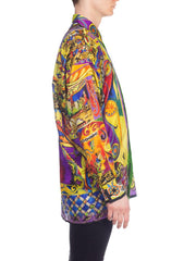 1990s Gianni Versace Medieval Printed Silk Shirt With Gold Accents