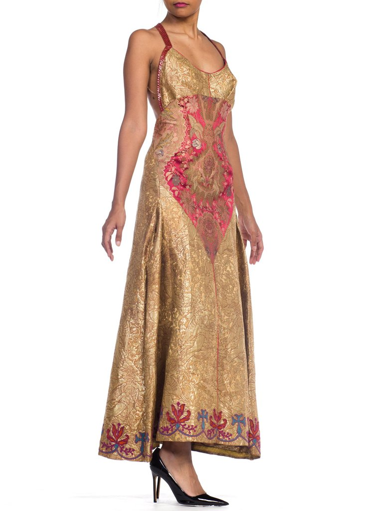 MORPHEW COLLECTION Crystal & Snakeskin Trimmed Gown Made From Antique Victorian Silk Woven With Angels In Real Gold