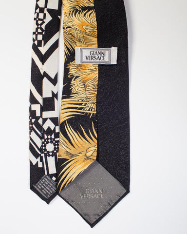 1990S Gianni Versace Black Miami Tie With Gold Palm Trees