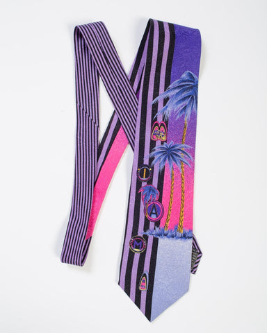 1990s Gianni Versace Purple Miami Tie With Palm Trees