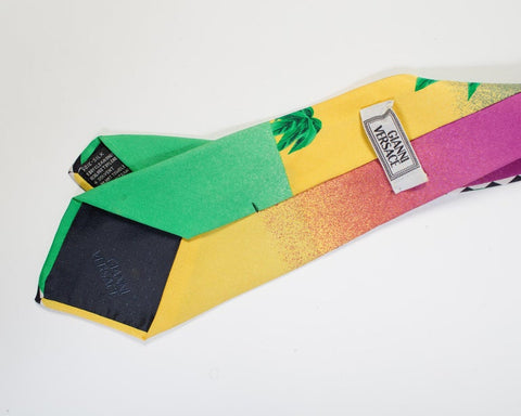 1990S Gianni Versace Geometric Miami Tie With Palms