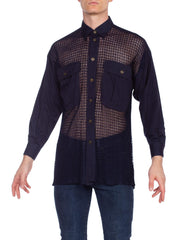 1990s Gianni Versace Navy Cotton & Mesh Shirt Size 44
