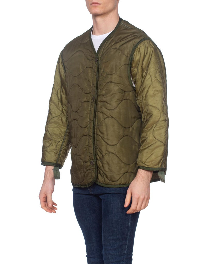 1960S Olive Green Nylon Men's Military Bomber Quilted Jacket Liner