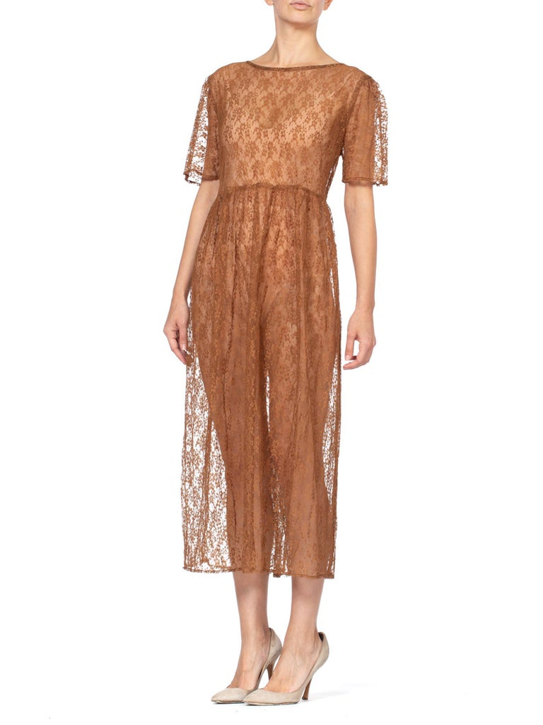 1970s Sheer Brown Lace Duster Dress