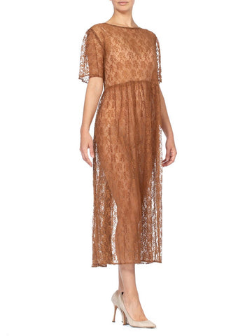 1960S Caramel Brown Sheer Polyester Floral Lace Duster Dress