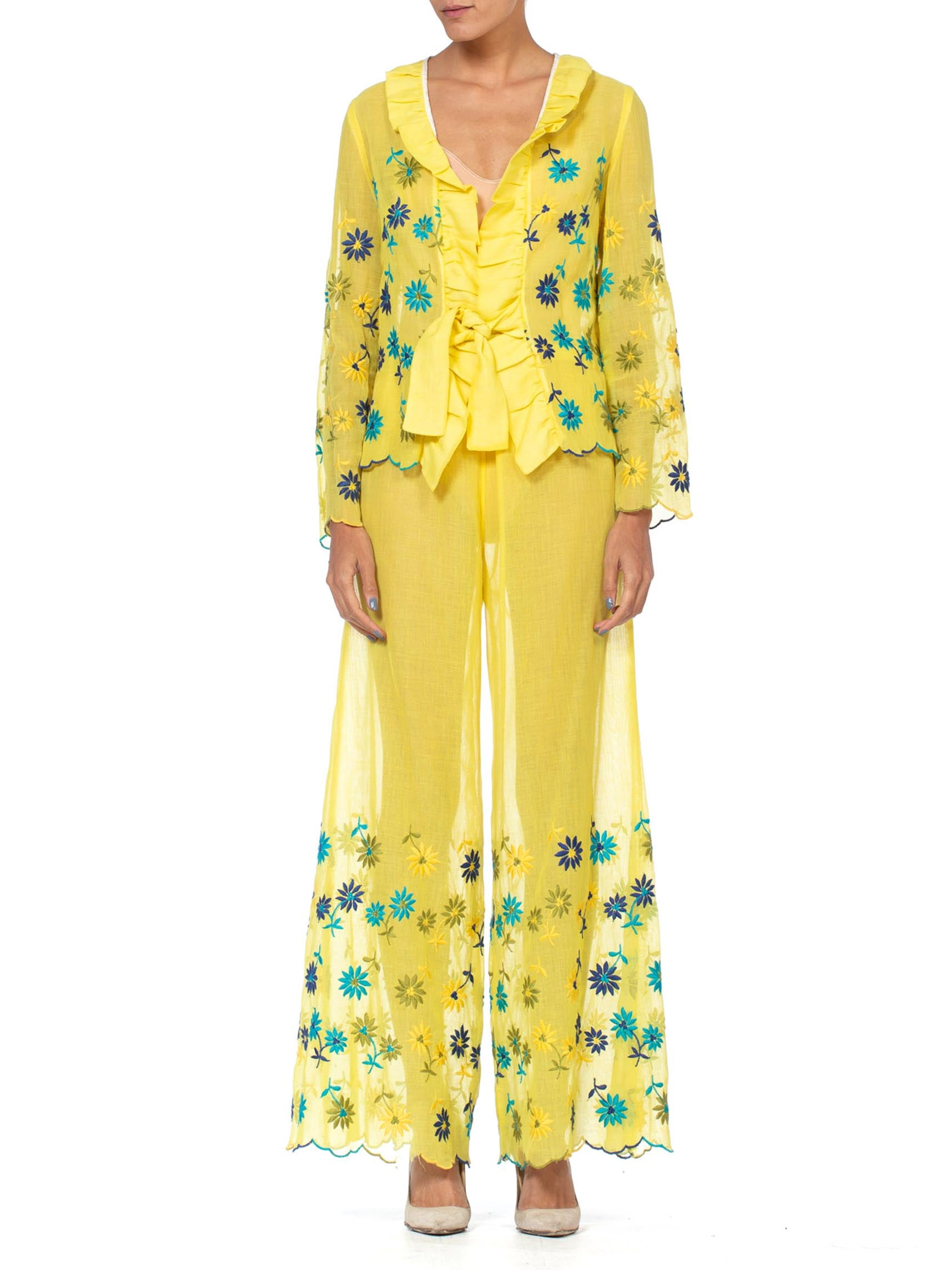 1960S Yellow Cotton Daisy Embroidered Top & Pants  Ensemble