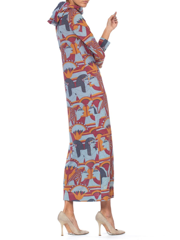 1970S Wool Blend Jersey Egyptian Pharaoh Deco Print Hooded Maxi Dress