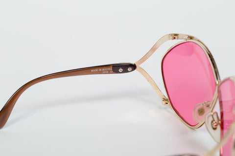 1980S CHRISTIAN DIOR  Style Gold Rose Pink Sunglasses
