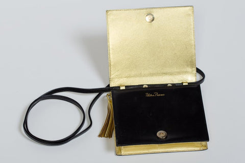 1980S Paloma Picasso Antique Gold Book Bag Clutch With Removable Strap