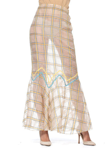 1930s Cotton & Silk Plaid Skirt with Silver Lame Details