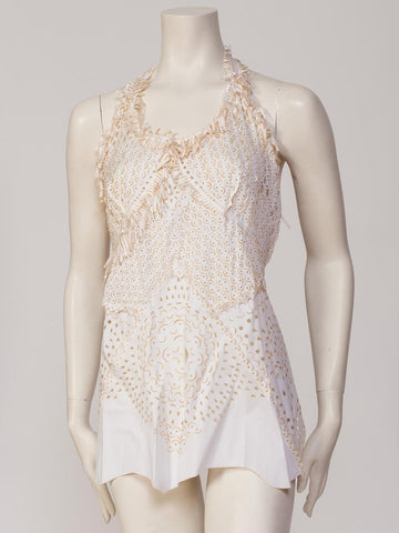 1990S JEAN PAUL GAULTIER Cotton Blend Laser Cut Eyelet Top