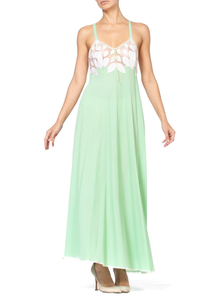 1970S Mint Green Polyester Jersey & White Lace Negligee Slip Dress | Vintage Negligee | Hamptons | 24hrs-Free Return policy | US Free Shipping | Pre-owned Clothing | Sustainable fashion