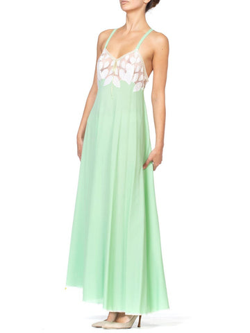 1970S Mint Green Polyester Jersey & White Lace Negligee Slip Dress