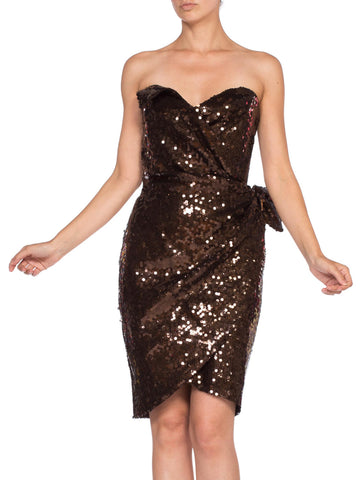 1980S THIERRY MUGLER Chocolate Brown Rayon Fully Sequined Strapless Cocktail Dress