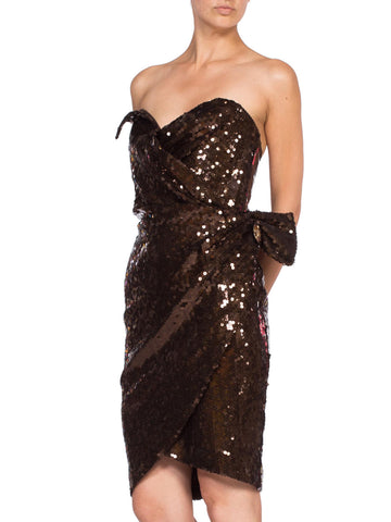 1980s Thierry Mugler Sequin Beaded Strapless Cocktail Dress