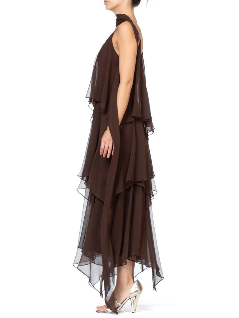 1970S ANTHONY MUTO Chocolate Brown Polyester Chiffon Disco Flapper Dress With Sash
