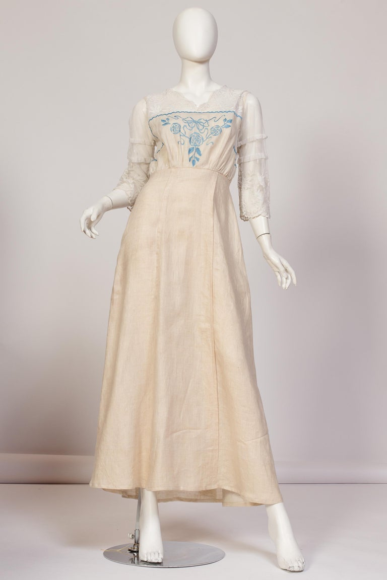 Edwardian Linen & Cotton Embroidered Tulle Dress With Blue Hand Flowers